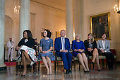 First Lady Michelle Obama (L) sits with the spouses of the Nordic leaders including, from left to right, Solrun Lokke Rasmussen of Denmark, Jenni Haukio of Fineland, Sindre Finnes of Norway, Ulla Lofven of Sweden, Solrun Lokke Rasmussen of Denmark and Ingibjorg Elsa Ingjaldsdottir of Iceland, during an arrival ceremony in the Grand Foyer of the White House in Washington, D.C. May 13, 2016. <br /> Credit: Kevin Dietsch / Pool via CNP