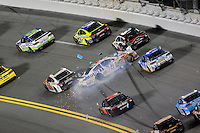 12-13 February, 2016, Daytona Beach, Florida, USA<br /> Brian Vickers crashes in turn one.<br /> ©2016, F. Peirce Williams
