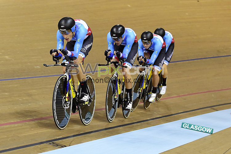 Picture by Alex Broadway/SWpix.com - 04/11/2016 - Cycling - 2016 UCI Track Cycling World Cup, Day 1 - Sir Chris Hoy Velodrome, Glasgow, United Kingdom - Men's Team Pursuit Finals - Adam Jamieson, Aidan Caves, Jay Lamoureux Ed Veal of Canada win Bronze.