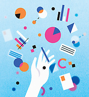 Hand amongst pie charts, bar graphs and geometric shapes ExclusiveImage