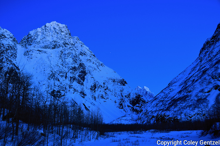 Mitre Peak at the east end of Eklutna Lake, Alaska.