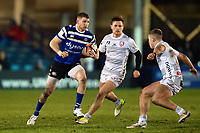 Ruaridh McConnochie of Bath Rugby in possession. Premiership Rugby Cup match, between Bath Rugby and Gloucester Rugby on February 3, 2019 at the Recreation Ground in Bath, England. Photo by: Patrick Khachfe / Onside Images
