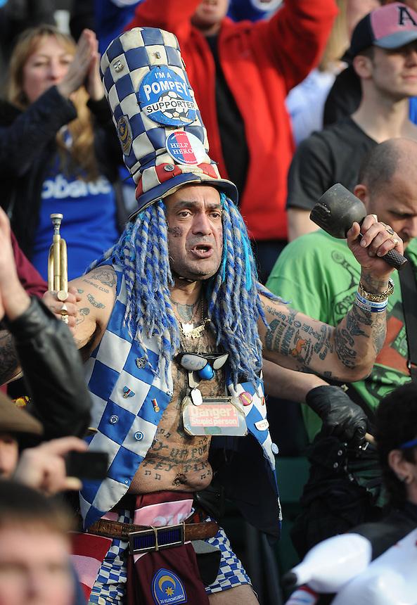 Portsmouth's famous football fan John 'Portsmouth Football Club' Westwood<br /> <br /> Photo by Ashley Crowden/CameraSport<br /> <br /> Football - The Football League Sky Bet League Two - Newport County AFC v Portsmouth - Saturday 29th March 2014 - Rodney Parade - Newport<br /> <br /> &copy; CameraSport - 43 Linden Ave. Countesthorpe. Leicester. England. LE8 5PG - Tel: +44 (0) 116 277 4147 - admin@camerasport.com - www.camerasport.com