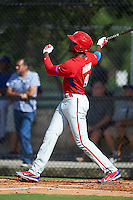 Philadelphia Phillies Domonic Brown (9) during an instructional league game against the Toronto Blue Jays on October 3, 2015 at the Carpenter Complex in Clearwater, Florida.  (Mike Janes/Four Seam Images)