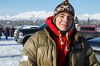 2015 Junior Iditarod musher Jimmy Lanier at the staging area along the Denali Highway. <br /> <br /> <br /> <br /> (C) Jeff Schultz/SchultzPhoto.com - ALL RIGHTS RESERVED<br />  DUPLICATION  PROHIBITED  WITHOUT  PERMISSION