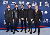LAS VEGAS, CA - APRIL 07: (L-R) Whit Sellers, Geoff Sprung, Matthew Ramsey, Brad Tursi and Trevor Rosen of Old Dominion attend the 54th Academy Of Country Music Awards at MGM Grand Hotel &amp; Casino on April 07, 2019 in Las Vegas, Nevada.<br /> CAP/ROT/TM<br /> &copy;TM/ROT/Capital Pictures