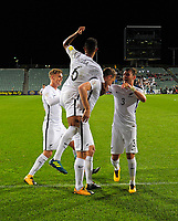 All Whites captain Chris Wood celebrates his hat-trick during the first leg of FIFA World Cup Russia 2018 qualifying football match between the New Zealand All Whites and Solomon Islands at QBE Stadium in Albany, New Zealand on Friday, 1 September 2017. Photo: Dave Lintott / lintottphoto.co.nz
