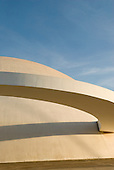 Brasilia, Brazil. The Cultural Complex of the Republic (Complexo Cultural da Republica) including the National Library and the National Museum, by Oscar Niemeyer; dome with curving walkway.