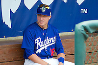 Cody Bellinger (16) of the Ogden Raptors prior to the game against the Orem Owlz in Pioneer League action at Lindquist Field on June 27, 2014 in Ogden, Utah. This game was rain-delayed from June 26, 2014.  (Stephen Smith/Four Seam Images)