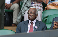 Trevor McDonald attends day seven<br /> <br /> Photographer Rob Newell/CameraSport<br /> <br /> Wimbledon Lawn Tennis Championships - Day 7 - Monday 8th July 2019 -  All England Lawn Tennis and Croquet Club - Wimbledon - London - England<br /> <br /> World Copyright © 2019 CameraSport. All rights reserved. 43 Linden Ave. Countesthorpe. Leicester. England. LE8 5PG - Tel: +44 (0) 116 277 4147 - admin@camerasport.com - www.camerasport.com