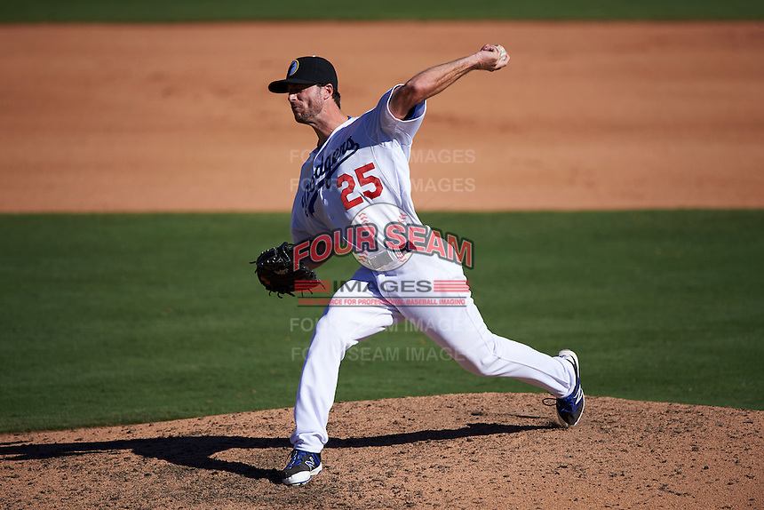 Glendale Desert Dogs pitcher Michael Johnson (25) delivers a pitch during an Arizona Fall League game against the Surprise Saguaros on October 24, 2015 at Camelback Ranch in Glendale, Arizona.  Surprise defeated Glendale 18-3.  (Mike Janes/Four Seam Images)