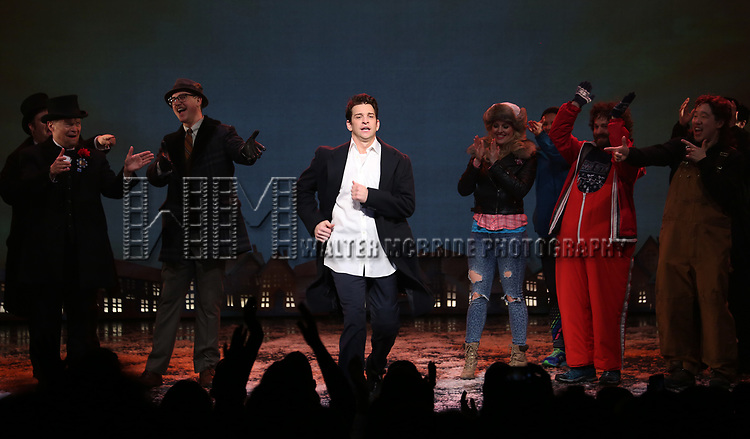 Andy Karl and cast during the Broadway Opening Night Curtain Call Bows for 'Groundhog Day' at August Wilson Theatre on April 17, 2017 in New York City.