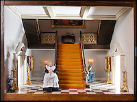 BNPS.co.uk (01202) 558833<br /> Picture: Peter Willows<br /> <br /> Georgian Manor staff quarters below stairs....<br /> <br /> Every little girls Xmas wish...A meticulously crafted dolls house that has taken Len Martin from Dorset 26 years to complete in his garden shed.<br /> <br /> Len is now selling his masterpiece in time for Xmas..but any bidders for 'Langdon Hall' will need deep pockets to come up with the &pound;10,000 asking price.<br /> <br /> Leonard Martin, 68, was inspired to make the ornate house after he doodled a picture of his 'perfect home' on a scrap of paper while he was bored at work in 1987.<br /> <br /> He has worked on the miniature property up to five hours a day since then to build the extravagant home and make his dreams a reality.<br /> <br /> The 6ft 2ins long and 3ft 6ins tall building has two bedrooms, two bathrooms, a kitchen, sitting room, dining room, and hallway all filled with tiny furniture.<br /> <br /> Leonard has spared no expense on the detailed Georgian manor and has spent more than 6,000 pounds building and filling the rooms.<br /> <br /> He has splashed out on detailed finishes and period furnishings including a Swarvoski crystal chandelier, hand stitched carpets, and real marble flooring.<br /> <br /> There are miniature beds, settees, cupboards, baths, toilets, and even tiny oil paintings that look like their huge counterparts - including the Mona Lisa.<br /> <br /> After working on the incredibly intricate Langdon House for more than a third of his life, Leonard has now decided to sell it and hopes to fetch around 9,000 pounds.<br /> <br /> Leonard, who used to own a miliary memorabilia shop and lives in Charlton Marshall near Blandford,Dorset, said: &quot;It all began when I was in my shop one