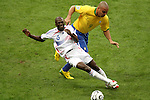 01 July 2006: Ronaldo (BRA) (9) pulls Claude Makelele (FRA) (6) off the ball. France defeated Brazil 1-0 at Commerzbank Arena in Frankfurt, Germany in match 60, a Quarterfinal game of the 2006 FIFA World Cup.