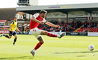 Fleetwood Town's Wes Burns shoots from close range<br /> <br /> Photographer Rich Linley/CameraSport<br /> <br /> The EFL Sky Bet League One - Fleetwood Town v Oxford United - Saturday 7th September 2019 - Highbury Stadium - Fleetwood<br /> <br /> World Copyright © 2019 CameraSport. All rights reserved. 43 Linden Ave. Countesthorpe. Leicester. England. LE8 5PG - Tel: +44 (0) 116 277 4147 - admin@camerasport.com - www.camerasport.com