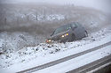 22/01/19<br /> <br /> A car lies in a ditch on the A54 Cat and Fiddle Road near Buxton the Derbyshire Peak District.<br /> <br /> All Rights Reserved, F Stop Press Ltd +44 (0)7765 242650  www.fstoppress.com rod@fstoppress.com