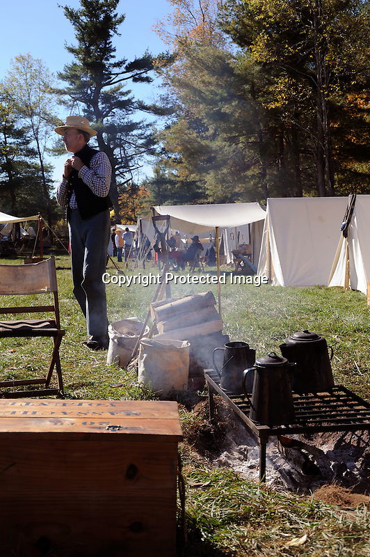 Civil War Reenactment Union Camp Soldier and Campfire