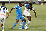Getafe CF's Djene Dakoman (l) and Atalanta BC's Duvan Zapata during friendly match. August 10,2019. (ALTERPHOTOS/Acero)