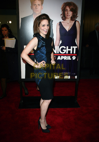 TINA FEY.New York City premiere of 'Date Night' held at the Ziegfeld Theater  New York City, New York, NY, USA..April 6th, 2010.full length blue dress black sleeveless shiny hands on hips side .CAP/ADM/PZ.©Paul Zimmerman/AdMedia/Capital Pictures.