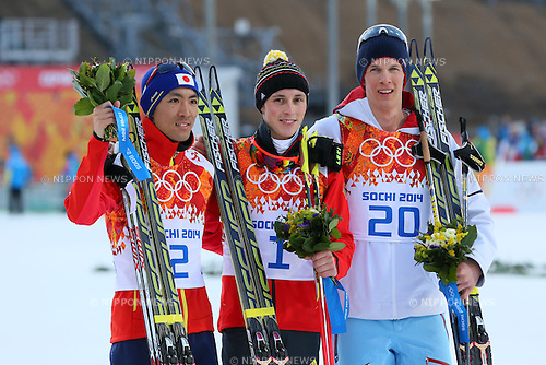 (L-R) Akito Watabe (JPN), Eric Frenzel (GER), Magnus Krog (NOR), <br /> FEBRUARY 12, 2014 - Nordic Combined : <br /> Individual Gundersen NH/10km <br /> at &quot;RUSSKI GORKI&quot; Jumping Center <br /> during the Sochi 2014 Olympic Winter Games in Sochi, Russia. <br /> (Photo by Yohei Osada/AFLO SPORT)