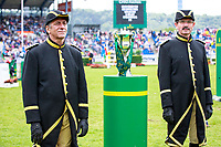 The Rolex Grand Slam of Showjumping Trophy stands proud and guarded during the Rolex Grand Prix Springprüfung - Der Große Preis von Aachen. 2017 GER-CHIO Aachen Weltfest des Pferdesports. Sunday 23 July. Copyright Photo: Libby Law Photography