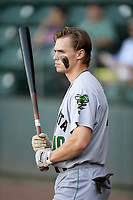 Second baseman Simon Whiteman (10) of the Augusta GreenJackets in the on deck circle before a game against the Greenville Drive on Thursday, August 29, 2019, at Fluor Field at the West End in Greenville, South Carolina. (Tom Priddy/Four Seam Images)