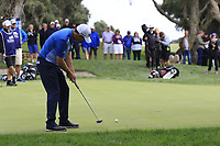 Padraig Harrington (IRL) birdie putt on the 10th green during Friday's storm delayed Round 2 of the Andalucia Valderrama Masters 2018 hosted by the Sergio Foundation, held at Real Golf de Valderrama, Sotogrande, San Roque, Spain. 19th October 2018.<br /> Picture: Eoin Clarke | Golffile<br /> <br /> <br /> All photos usage must carry mandatory copyright credit (&copy; Golffile | Eoin Clarke)