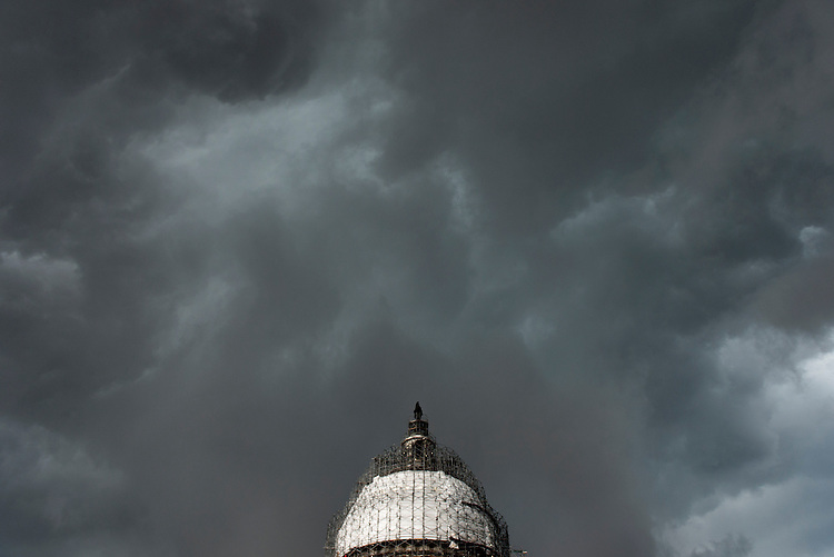 UNITED STATES - JULY 30: A severe thunderstorm passes over the U.S. Capitol on Thursday, July 30, 2015. (Photo By Bill Clark/CQ Roll Call)