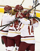 Blake Bolden (BC - 10), Taylor Wasylk (BC - 9), Emily Pfalzer (BC - 14) - The Boston College Eagles tied the visiting Boston University Terriers 5-5 on Saturday, November 3, 2012, at Kelley Rink in Conte Forum in Chestnut Hill, Massachusetts.