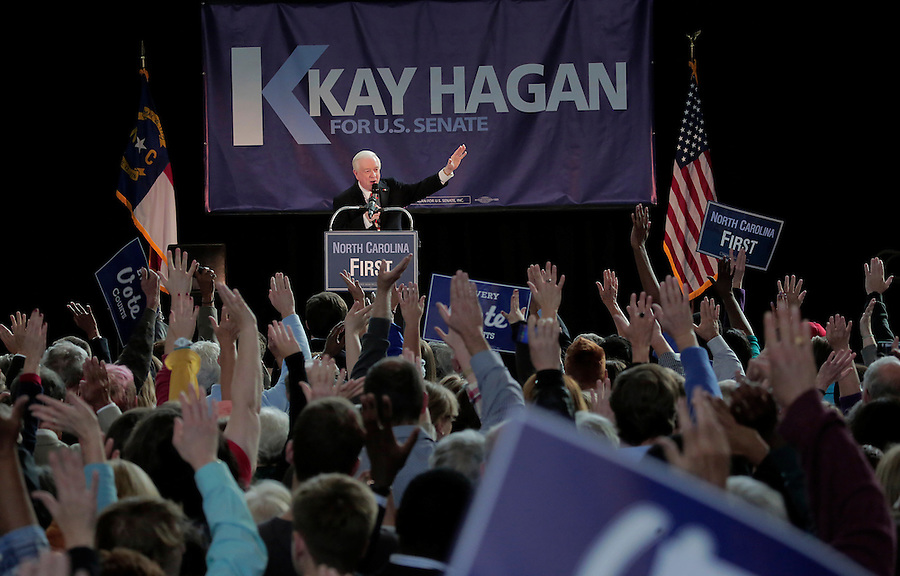 RALEIGH, NC - OCTOBER 31:  Former North Carolina governor Jim Hunt addresses the crowd during a campaign event in support of North Carolina Democratic incumbent for U.S. Senate Kay Hagan at Broughton High School in Raleigh, NC, on Friday, October 31, 2014.  (Photo by Ted Richardson/For The Washington Post)