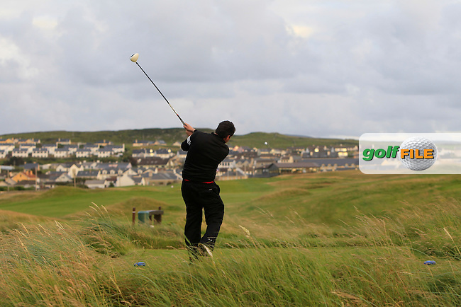 Edward Stack (Ballybunion) on the 18th tee during Round 1 of the South of Ireland Amateur Open Championship at LaHinch Golf Club on Wednesday 22nd July 2015.<br /> Picture:  Golffile | Thos Caffrey
