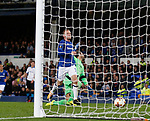 Wayne Rooney of Everton scores the equalising goal during the Europa League Group E match at Goodison Park Stadium, Liverpool. Picture date: September 28th 2017. Picture credit should read: Simon Bellis/Sportimage
