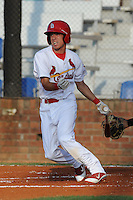 Johnson City Cardinals center fielder Steven Ramos #5 swings at a pitch during a game against the Greeneville Astros at Howard Johnson Field on July 13, 2011 in Johnson City, Tennessee.  Greeneville won the game 7-4.   (Tony Farlow/Four Seam Images)