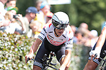 Trek-Segafredo including Richie Porte (AUS) in action during Stage 2 of the 2019 Tour de France a Team Time Trial running 27.6km from Bruxelles Palais Royal to Brussel Atomium, Belgium. 7th July 2019.<br /> Picture: Colin Flockton | Cyclefile<br /> All photos usage must carry mandatory copyright credit (© Cyclefile | Colin Flockton)