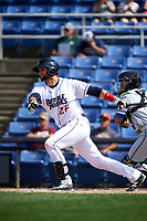 Binghamton Rumble Ponies catcher Colton Plaia (26) follows through on a swing during a game against the Hartford Yard Goats on July 9, 2017 at NYSEG Stadium in Binghamton, New York.  Hartford defeated Binghamton 7-3.  (Mike Janes/Four Seam Images)