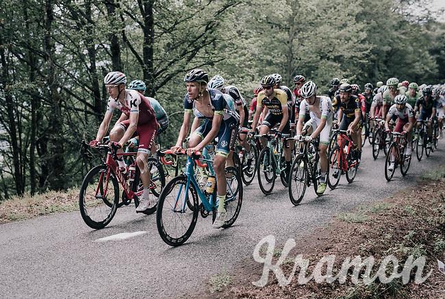 Yoann Offredo (FRA/Wanty-Groupe Gobert) &amp; Tony Martin (GER/Katusha-Alpecin) drive the bus up the Mur de P&eacute;gu&egrave;re (Cat1/1375m/9.3km/7.9%)<br /> <br /> 104th Tour de France 2017<br /> Stage 13 - Saint-Girons &rsaquo; Foix (100km)