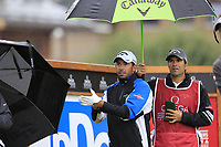 Pablo Larrazabal (ESP) on the 10th tee during a wet Saturday's Round 3 of the 2017 Omega European Masters held at Golf Club Crans-Sur-Sierre, Crans Montana, Switzerland. 9th September 2017.<br /> Picture: Eoin Clarke | Golffile<br /> <br /> <br /> All photos usage must carry mandatory copyright credit (&copy; Golffile | Eoin Clarke)