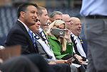 From left, Nevada Gov. Brian Sandoval, Reno Aces owner Herb Simon, Reno Aces Team President Eric Edelstein and Reno Mayor Hillary Schieve participate in a ceremony announcing the addition of a United Soccer League franchise in Reno, Nev., on Wednesday, Sept. 16, 2015 at the Aces Ballpark. <br /> Photo by Cathleen Allison