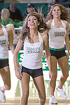 North Texas Mean Green dancers in action during the game between the Arkansas Little Rock Trojans and the North Texas Mean Green at the Super Pit arena in Denton, Texas. UALR defeats UNT 62 to 57...