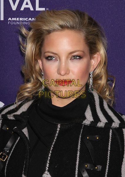 "KATE HUDSON .attends the 2010 Tribeca Film Festival Premiere of ""The Killer Inside Me"" at the SVA Theatre, New York, NY, USA, .April 27th, 2010..portrait headshot red lipstick make-up black and grey gray patterned pattern dangly earrings .CAP/LNC/TOM.©LNC/Capital Pictures."