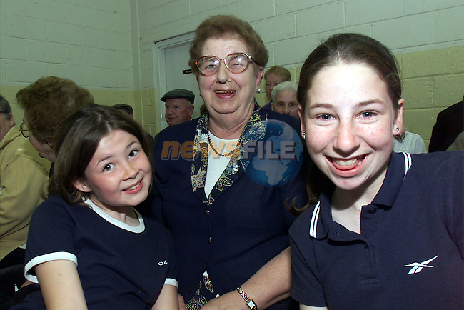 Betty Gorman and her two grandchildren Rachel(L) and Sharon (R) Gorman, Ardee pictured at the bingo in Tullyallen parish hall..Picture: Arthur Carron/Newsfile
