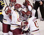 Tommy Cross (BC - 4), Edwin Shea (BC - 8), Danny Linell (BC - 10), Johnny Gaudreau (BC - 13) - The Boston College Eagles defeated the Merrimack College Warriors 4-2 to give Head Coach Jerry York his 900th collegiate win on Friday, February 17, 2012, at Kelley Rink at Conte Forum in Chestnut Hill, Massachusetts.