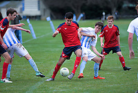 Action from the Wellington 1st XI premier college football match between St Pat's College Silverstream and Hutt International Boys' School at Silverstream College in Upper Hutt, New Zealand on Saturday, 4 August 2018. Photo: Dave Lintott / lintottphoto.co.nz