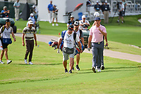 Bryson DeChambeau (USA) leads the pack down 16 during round 1 of the 2019 Charles Schwab Challenge, Colonial Country Club, Ft. Worth, Texas,  USA. 5/23/2019.<br /> Picture: Golffile | Ken Murray<br /> <br /> All photo usage must carry mandatory copyright credit (© Golffile | Ken Murray)