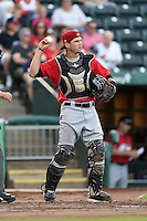 Frisco Rough Riders catcher Pat Cantwell (12) during a game against the Springfield Cardinals on June 1, 2014 at Hammons Field in Springfield, Missouri.  Springfield defeated Frisco 3-2.  (Mike Janes/Four Seam Images)