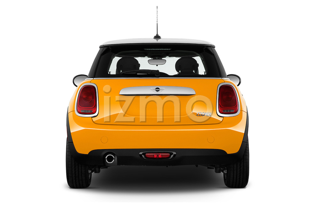 Straight rear view of a 2014 MINI Cooper Hardtop 3 Door Hatchback