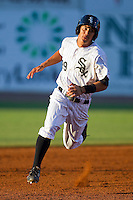 Tyler Saladino #39 of the Bristol White Sox hustles towards third base against the Greeneville Astros at Boyce Cox Field July 1, 2010, in Bristol, Tennessee.  Photo by Brian Westerholt / Four Seam Images