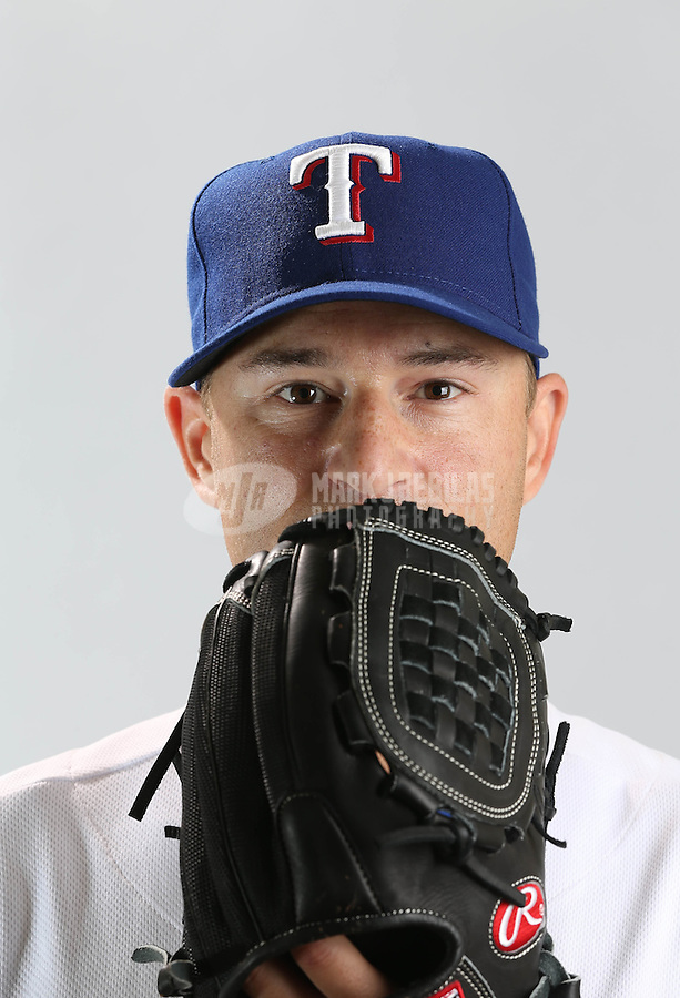 Feb. 20, 2013; Surprise, AZ, USA: Texas Rangers pitcher Jason Frasor poses for a portrait during photo day at Surprise Stadium. Mandatory Credit: Mark J. Rebilas-