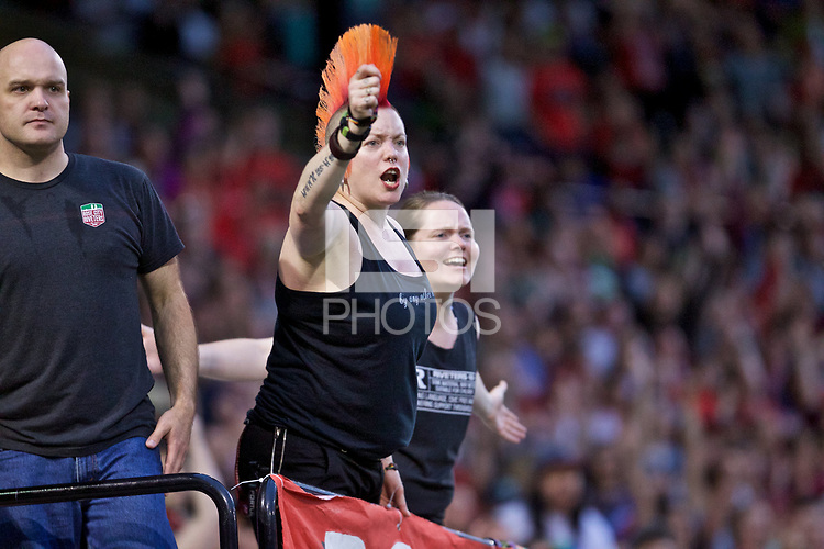 Portland, OR - Saturday June 17, 2017: Portland Thorns FC fans during a regular season National Women's Soccer League (NWSL) match between the Portland Thorns FC and Sky Blue FC at Providence Park.