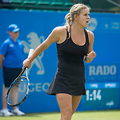 June 11th 2017, Nottingham, England;WTA Aegon Nottingham Open Tennis Tournament day 2;  Fist pump from Jana Fett of Croatia as she seals victory over Sachia Vickery of USA in two sets on centre court